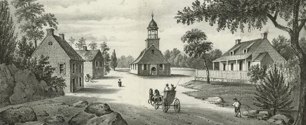 Drawing of church and horse-drawn buggy, church and other buildings representing life in Colonial times