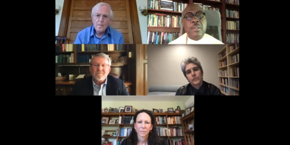 Screenshot of video discussion with Professors John Hare, Jennifer Herdt, Willie Jennings, and Kathryn Tanner