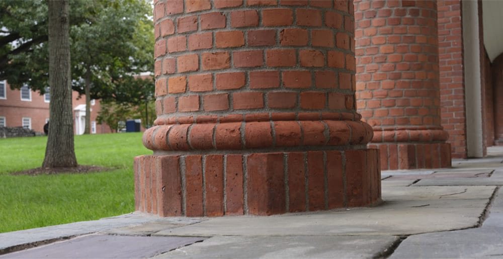 Photo of brick column on Sterling Divinity Quadrangle